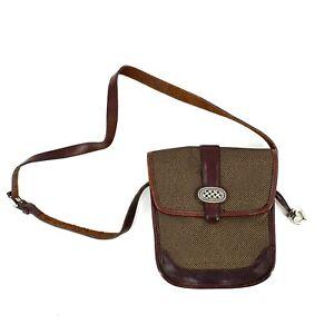 Brighton Womens Crossbody Bag Purse Leather Brown Tweed Silver Buckle Shoulder