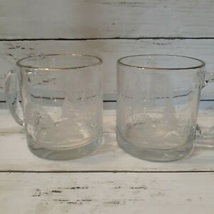 Frosted Glass Mug with Christmas Trees and  Gold Rim Set of 2