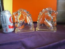Vintage PAIR of GLASS HORSE Head Candy Holders ? BOOKENDS ?