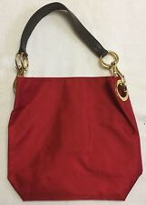 Bright Red Fabric Shoulder Bag With Large Gold Buckles And Brown Strap NWOT