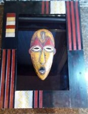 African Mask Tribal Wood Hand Carved Vintage Wall Art in Wood and Glass frame