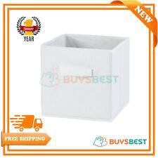 H & L Russel Embossed Folding Storage Box, White, 25 x 25 x 25 cm, Medium