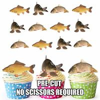 PRE-CUT Fishing Carp Fish Edible Cup Cake Toppers Decorations (Pack of 12)