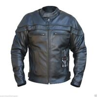 Black Tab The Sturgis Crusier Removable Armour CowHide Leather Motorcycle Jacket