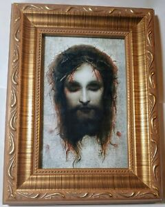 Veronica's Veil by Gabriel Max Jesus Christ crowned with thorns in a gold frame