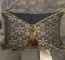 waterford vaughn pillow decorative Size 12x18 ( Navy/gold )