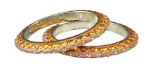 Pair of Orange glitter diamante & triangle stone bangles Indian Bollywood (x2)