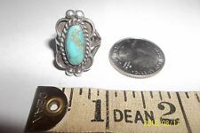 Sterling Silver .925 Vintage Southwest Rope Bead Turquoise Ring Sz 6 .5 *