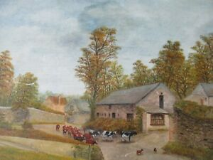 VINTAGE ORIGINAL PAINTING ON BOARD FARM HOUSE COUNTRY SCENE COWS PLYMOUTH DEVON