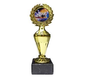 Bowling-Pokal mit buntem Emblem und Ihrer Wunschgravur (Biso1)