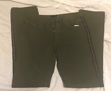 Roberto Cavalli Womens Dark Olive Pants With Side Logo Size 34