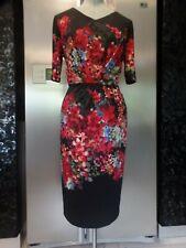 14 new ANTHEA CRAWFORD stretch jersey fel black red dress pleated wedding formal