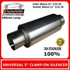 """5"""" x 20"""" clamp on edelstahl endschalldämpfer auspuff kofferaufbau, 1"""" 1/2 (38mm) bohrung"""