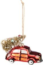 "Glass RED CAR Christmas Tree Ornament, 3.25"" Long, Primitives by Kathy"