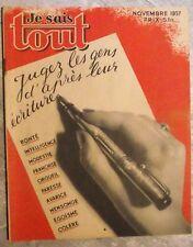 Magazine JE SAIS TOUT sciences populaire antique french mag 1937 graphologie
