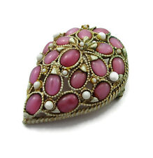 FLORENZA Pink Moonglow Stones Matte Gold Brooch Pin Teardrop
