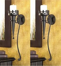 "Set of 2 ** STUNNING TORCH STYLE 18.8"" GOTHIC WALL CANDLEHOLDER SCONCES * NIB"