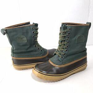 Sorel 1964 Premium CVS Womens 9 Winter Boots Snow Waterproof Green NL1717-301