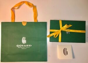 """Authentic Goyard Gift Box & Bag for Large Wallet 8 x 5x1 1/2"""" + Ribbon & Booklet"""