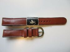 Cordovan cognac brown vintage 14 mm Open end leather watch band 1950's