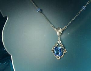 "ART DECO Lavalier Necklace 1930s STERLING Silver Open BLUE CRYSTAL 19.5"" So Fine"