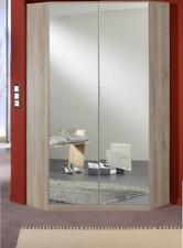 2 DOOR CORNER WARDROBE WITH HANGING RAILS AND SHELVES - OAK MIRROR WARDROBE