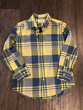 Crewcuts Boys 4/5 Madras Button Down Shirt Yellow Blue