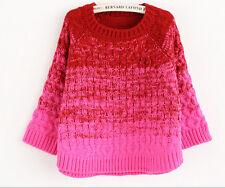 Comodo caldo maglione donna rosso magenta  maxi maglia morbido misto lana 4196