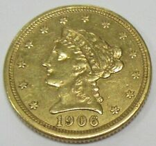 1906 US $2.5 Liberty Gold Quarter Eagle * Old US $2 1/2 Gold Coin