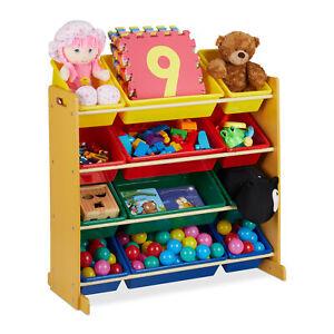 Kinderregal mit Aufbewahrungsboxen, Spielzeugregal Kinderzimmer, Spielregal Holz