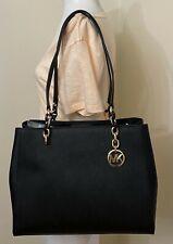 Michael Kors Women Sofia Black Leather Large Shoulder Tote Bag Purse