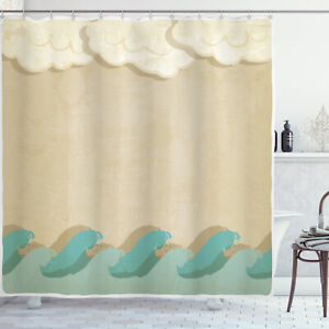 Ocean Shower Curtain Grunge Old Print for Bathroom