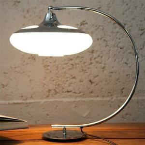 Design Tischleuchte LUNA LOGO, Schreibtischleuchte chrom/weiß, 1 x E27