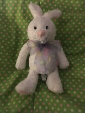 "Hallmark Stuffed Plush Bean White Easter Bunny Rabbit Pastel Egg Ribbon Scarf 7"""