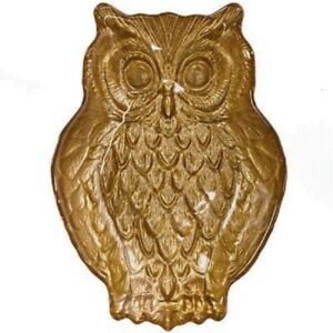NEW Golden Harvest Owl Dish - Hand painted glass  - trinket, candy, decorative