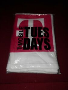 """T-Mobile Tuesday Beach Towel White Magenta Stripe 28x58"""" - TWO AVAILABLE"""