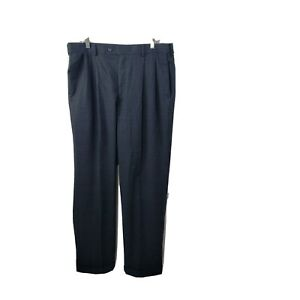 Louis Raphael Rosso Dress Pants 36x32 Navy Blue Plaid