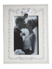 Cream Faux Leather  Wedding Photo Picture Frame Freestanding Photograph Frame