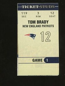 2003 Fleer Ticket Stub Tom Brady New England Patriots Jersey