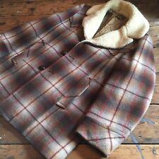 Pendleton vintage, cuadros de sombra, chaqueta de lana, Sherpa Alineado Pesado, Western Wear