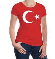 Damen Kurzarm Girlie T-Shirt Turkey Flag Full Size Türkei Fanshirt Flagge