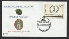 SIR DONALD BRADMAN 2015 107th BIRTHDAY COVER GABBA CRICKET POSTMARK