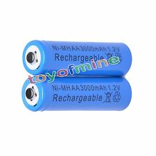 2 AA 3000mAh NiMH Recycle Rechargeable Battery BLUE