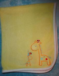 Carters Child Of Mine Yellow Fleece Baby Blanket Giraffe Tucan Bird White Trim