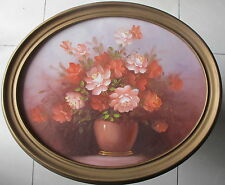 "Signed~original painting~""Still Life""~Oval Frame from Gallery~80s"