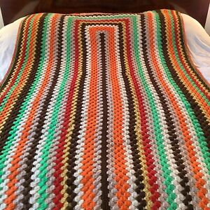 Vintage MCM Fall Multi Color 108 X 54 Granny Afghan Throw Crochet Knit EUC!