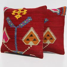 "Set Of 2 Lot Pillow Case Yugoslavian Kilim Rug Square Wool Red Area Rugs 16""X16"""