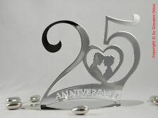 Cake Topper Anniversario Matrimonio 25 anni Nozze d'Argento Statuina SopraTorta