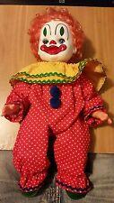 """VINTAGE 15"""" Gatabox Ltd. Stuffed Clown Doll 1981 Orange Hair Green Shoes COAI"""