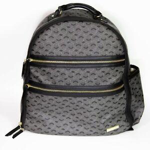 Skip Hop Diaper Bag Backpack Deco Saffiano Baby Purse Travel Bag Gold Black